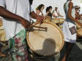 Maracatu drumming in Salvador, Brazil.