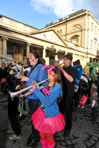 Processing through Bath as part of Bath Festival.