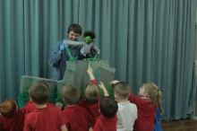 Bris Arts puppeteers performing a specially created show about friendship and cooperation based on a traditional Japanese folk tale